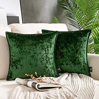 Phantoscope Pack of 2 Velvet Soft BA-Series Square Throw Pillow Covers Cushion Cover Pillowcase for Couch Bed and Chair, G...