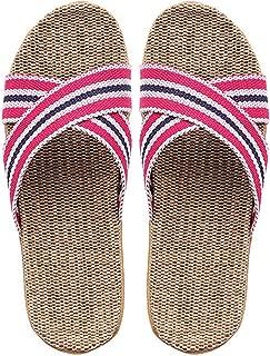 Flax Slippers Multicolor Big Size Women Indoor Floor Shoes Cross Belt Unisex Flip Flops Casual Linen Slides