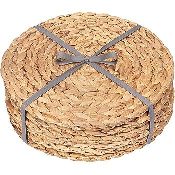 Juego de 5 manteles individuales de jacinto de agua trenzado lavables y naturales redondos