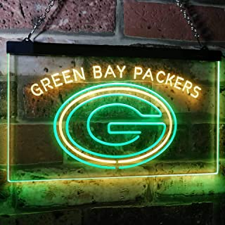 ZAKAKU Green Bay Packers Football Bar Decor Two Color LED Neon Sign Green and Yellow w12 x h8