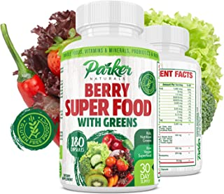 Berry Green Superfood Capsules 180 ct. with Organic Greens & Organic Fruits, Enzymes, Probiotics, Antioxidants, Vitamins, ...