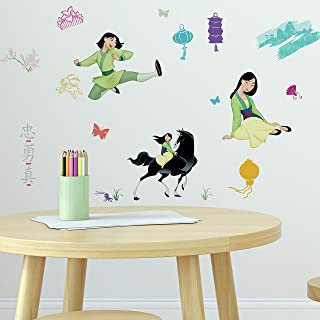 RoomMates RMK4392SCS Mulan Peel and Stick Wall Decals,Green, Black, Blue