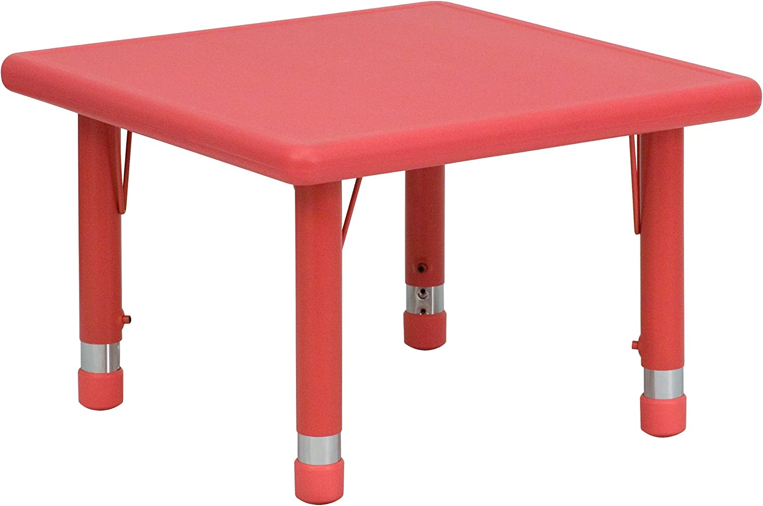 Flash Furniture 24'' Square Height Adjustable Red Plastic Activity Table