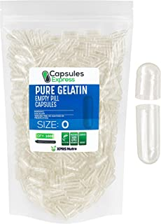 Capsules Express- Size 0 Clear Empty Gelatin Capsules 1000 Count - Kosher and Halal - Pure Gelatin Pill Capsule - DIY Powd...
