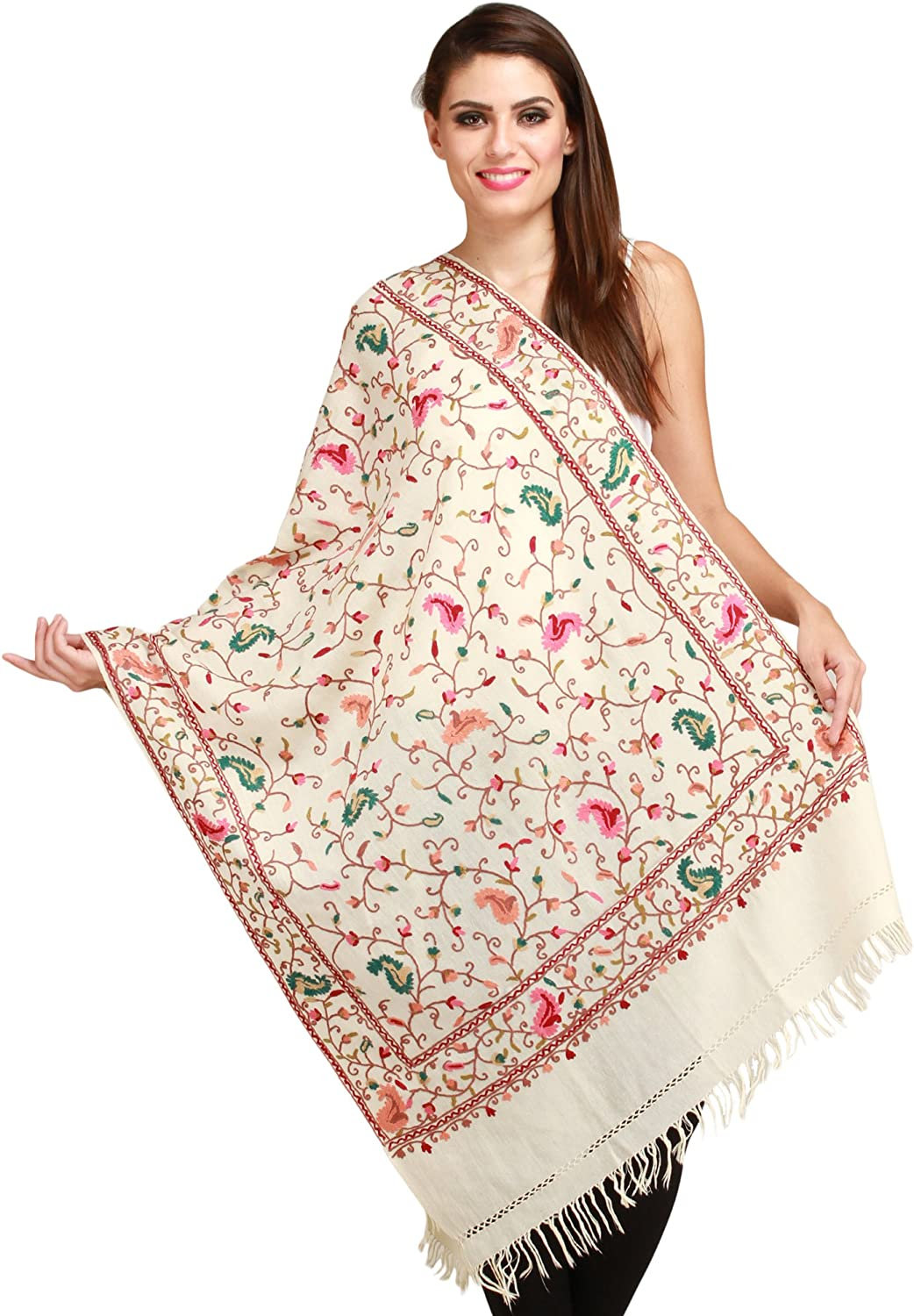Exotic India Ivory Ari Stole with Embroidered Paisleys in Multi-colo - Off-White