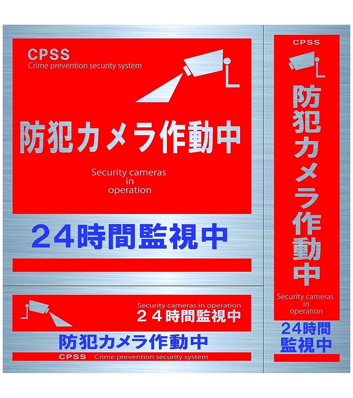 凍った森差別化するセキュリティーステッカー(屋内外両用)赤 防犯カメラバージョン 色褪せしにくい 日本製 B-S-01