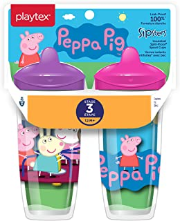 Playtex Sipsters Stage 3 Peppa Pig Spill-Proof, Leak-Proof, Break-Proof Insulated Toddler Spout Cups for Girls - 9 Ounce - 2 Count