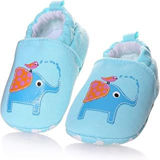 SCOWAY Baby Boys Girls Cute Cotton Slippers Anti-Slip Soft Sole Warm Winter Crib Shoes