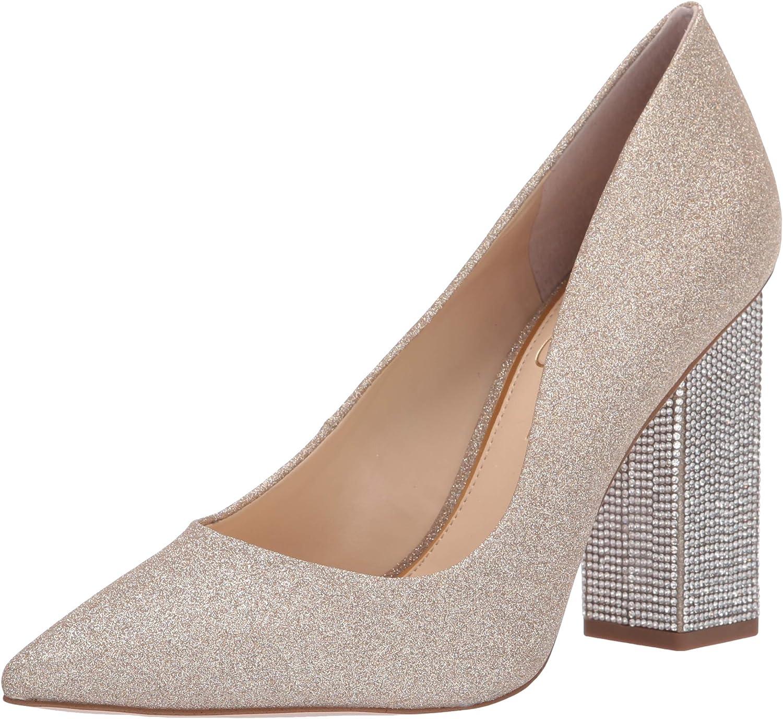 Jessica Simpson Women's Welles Glitter Pointed Toe Embellished Block Heeled Pump