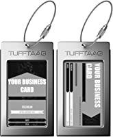 Luggage Tags Business Card Holder TUFFTAAG Travel ID Bag Tag in Many Color Options, Gunmetal, 2 Tags