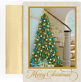 Masterpiece Warmest Wishes 18-Count Christmas Cards, Coastal Tree