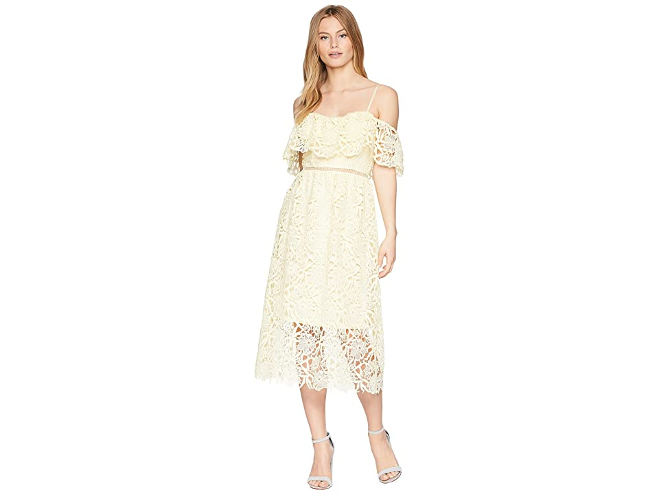 ASTR the Label Off Shoulder Lace Midi Dress (Pale Yellow) Women