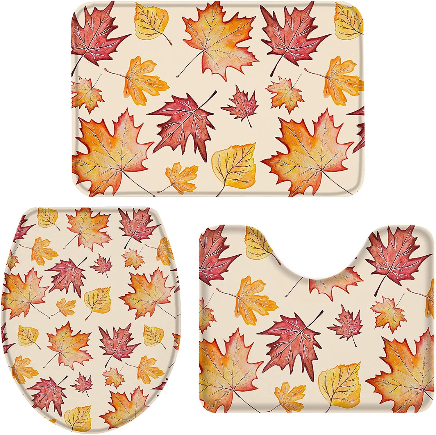 Popular overseas OneHoney Thanksgiving Watercolor Maple Leaf a Rugs Bath 3 Pieces 67% OFF of fixed price