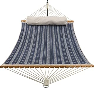 PATIO WATCHER 11 Feet Quilted Fabric Hammock with Pillow, Double Hammock with Bamboo Wood Spreader Bars, Perfect for Outdoor Patio Yard, Blue Stripes