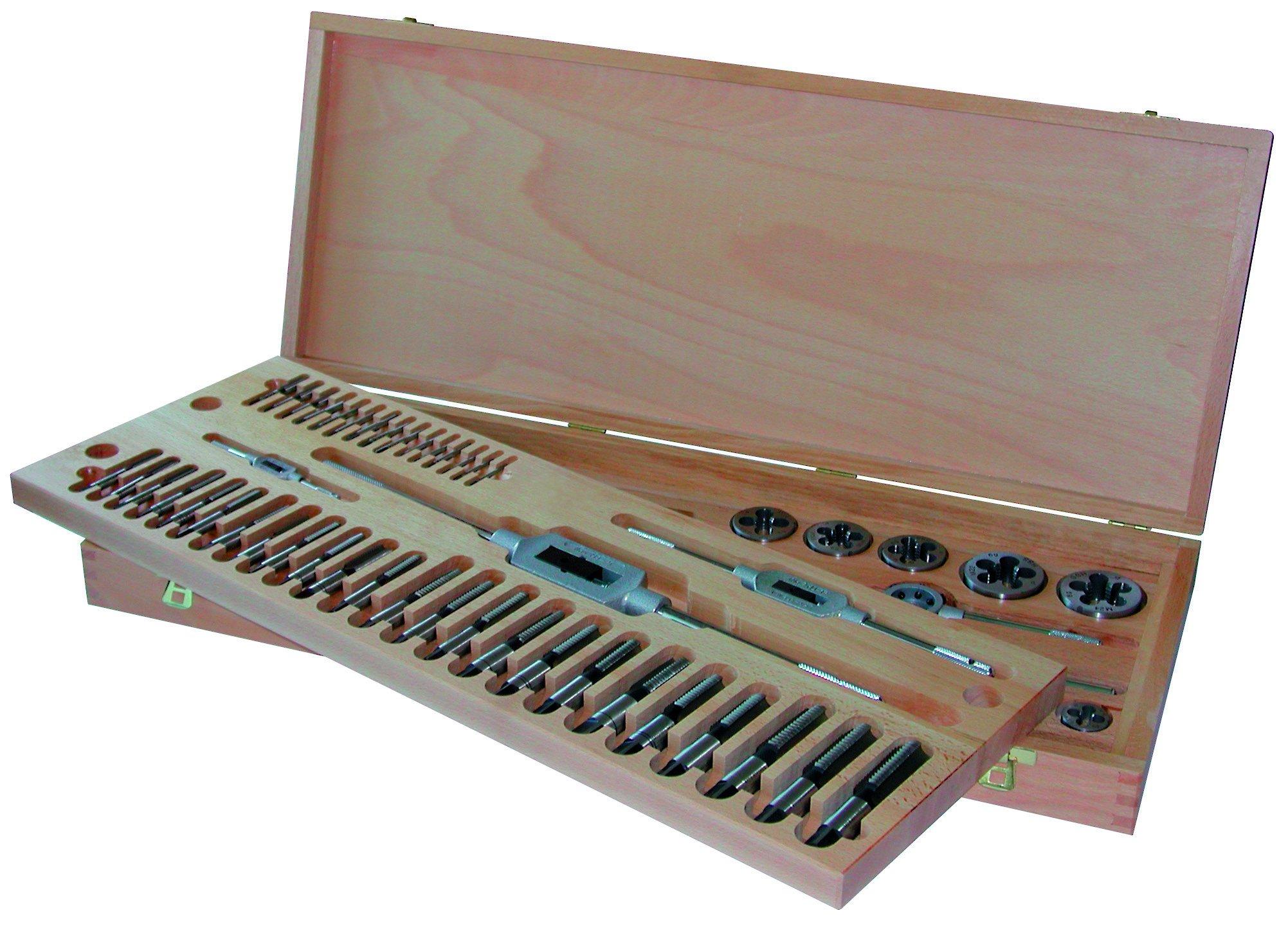 Gertus 1040110 - Juego de herramientas para cortar roscas (en caja de madera lacada, G 1/8-1