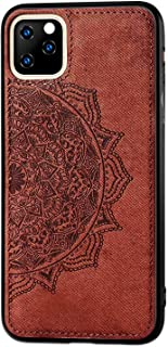 Ultra Slim Soft Case Compatible with Apple iPhone 11 Pro Max 6.5 inch Display,Fit Magnetic Car Mount,Embossed Mandala Flower Geometric Pattern,Flexible TPU Silicone Protective Back Cover-Brown