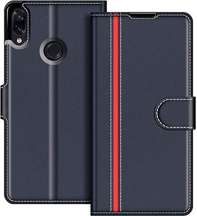 COODIO Custodia in Pelle Xiaomi Redmi Note 7, Custodia Xiaomi Redmi Note 7, Custodia Portafoglio Cover Porta Carte Chiusura Magnetica per Xiaomi Redmi Note 7, Blu Scuro/Rosso