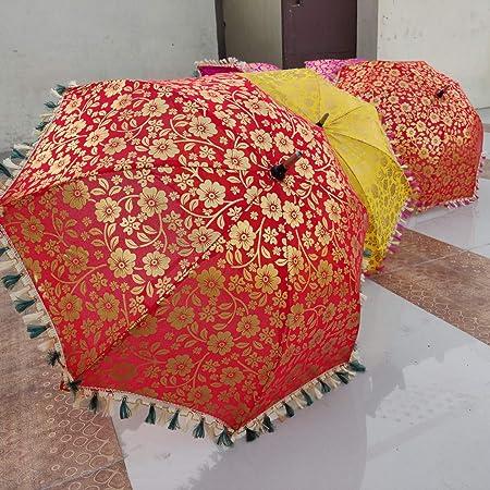 Indian Decorative Umbrellas Wedding Handmade Embroidery Women Parasol Boho 10 PC