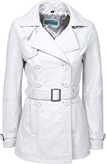 Smart range Trench Ladies 1123 White Classic Mid-Length Designer Real Leather Jacket Coat