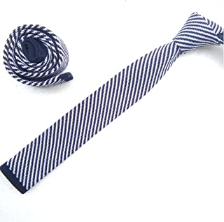 Mens Knit Ties Skinny Striped Woven Square End Tie in Variant Colors