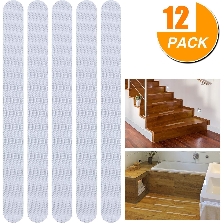 Tiras de seguridad antideslizantes para escalera y suelo, transparentes. Uso en interior/exterior. 12 pinzas de