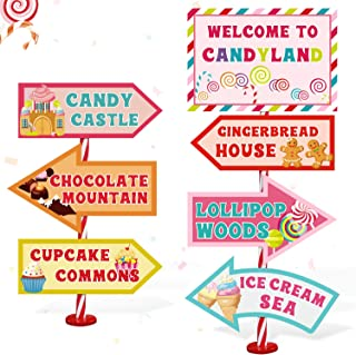 Candy Land Party Sign Welcome Directional Signs Street Standup Photo Booth Prop Cutouts Sweet Theme Birthday Christmas Dec...