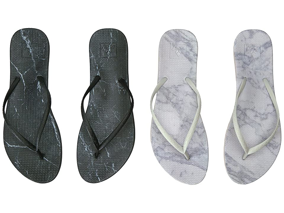 Reef Escape Lux Print 2-Pair Variety Pack (Marble (Black Marble & White Marble)) Women