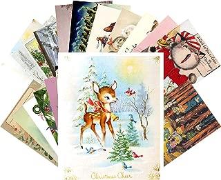 Vintage Christmas Greeting Cards 24pcs Christmas Animals Bamby Kitten Puppy Reprint Postcard Set
