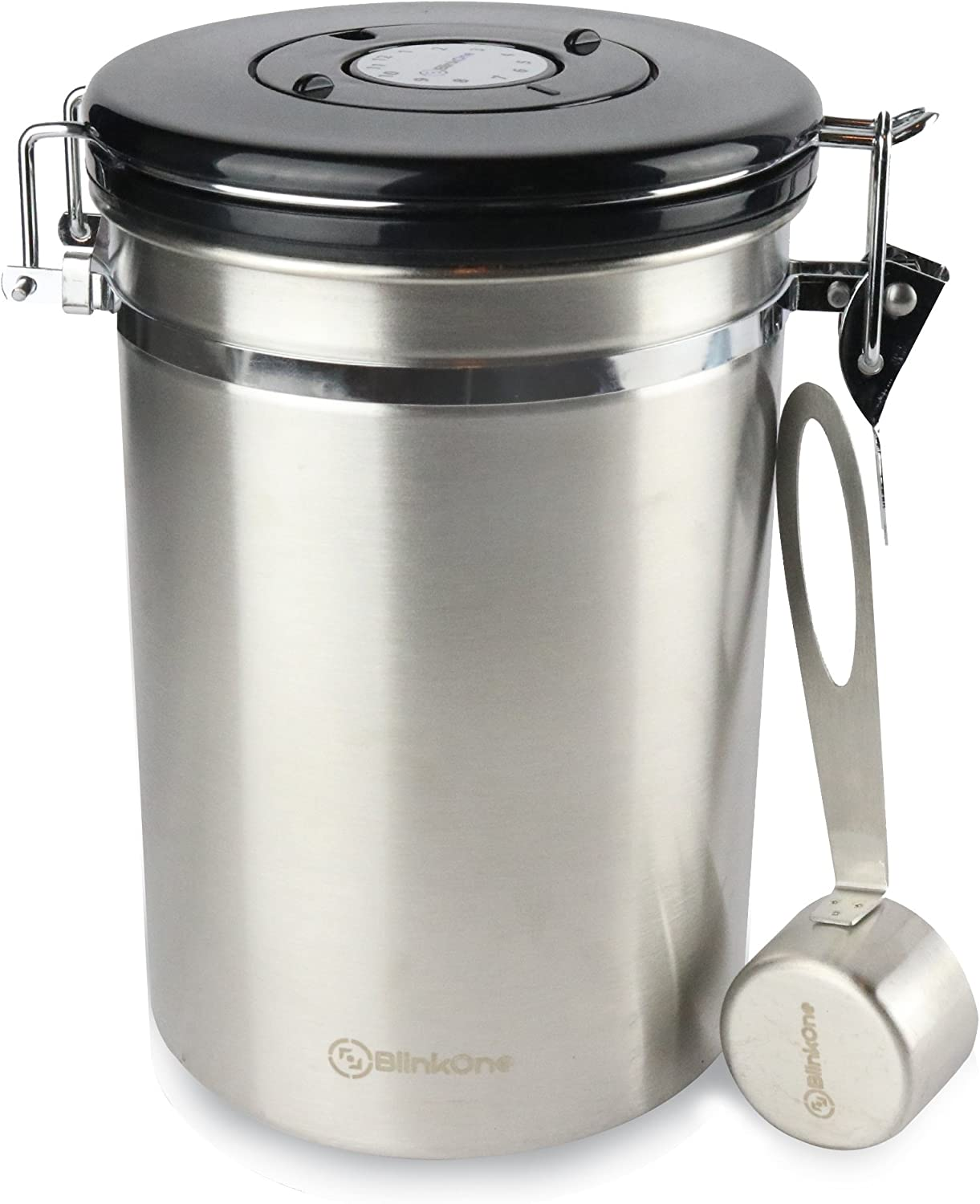 BlinkOne Coffee Canister: Airtight Bean Container Storage with D