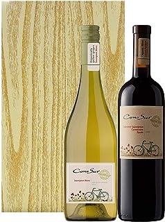 【簡易メッセージカード付】チリのイノベーティヴな人気ブランド コノスル オーガニックワイン 赤白 2本 ギフトセット 木目調ギフトボックス入 [ 750ml×2本 ]