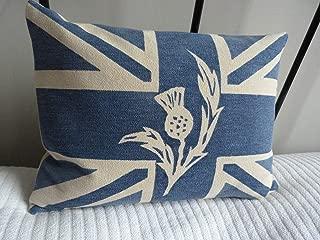 MurielJerome Hand Printed Royal Blue Scottish Thistle Union Jack Flag Cushion Cover
