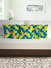 Divine Casa Micro Polyester Abstract Print Set of 5 Cushion Covers, Lime and Cyan Blue - (40cm x 40cm)