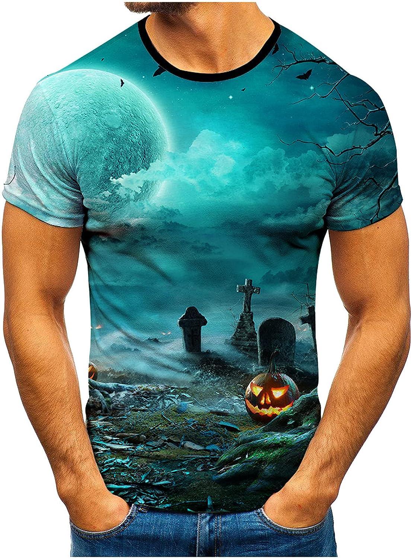 LEIYAN Halloween Funny Pumpkin Print Tee Shirts Casual Short Sleeve Bodybuilding Fitness Travel Hiking Tops for Men