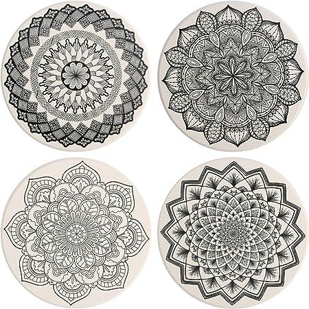 Maoxintek Untersetzer Keramik 4 Stück Absorbierenden Untersetzer Saugfähige Mit Korkrücken Für Tassen Tisch Bar Glas Mandala Stil