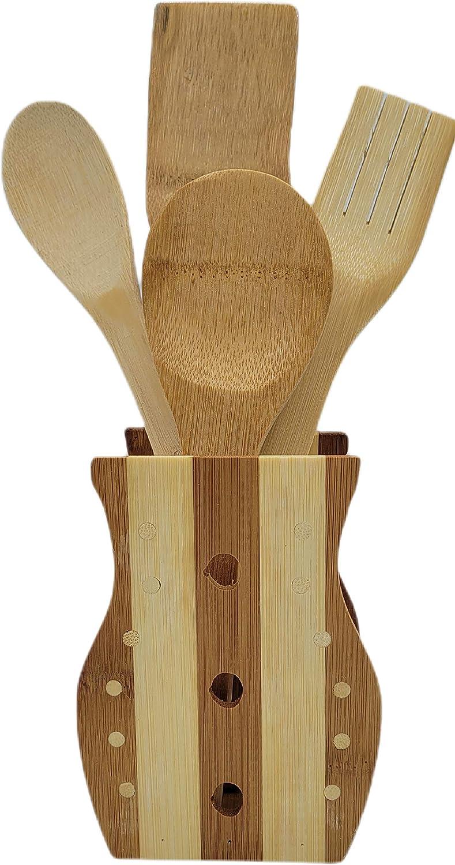 Utensilios Cocina 5 Piezas Menaje Bambú | Organizador Juego De Cubiertos Palos De Madera Porta Accesorios