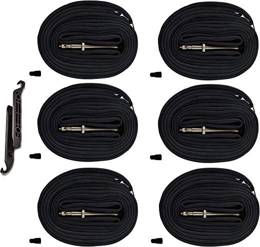 AR-PRO 28 700x20-25C Road Bike Replacement Inner Tubes Presta Valve 80mm for Road Bikes with Tire Size of 700c x 20, 23, and 25 (6 Inner Tubes with 2 Tire Levers)