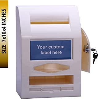 PEIYOU Ballot Box with Lock Table Top for Wall Mounting with 6 Replaceable Labels (Off-White, 7x10x4-Inches)