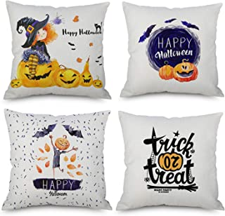 Kaitse Happy Halloween Throw Pillow Covers 18 x 18 Inch, Pumpkin Bat Spider Little Witch Decor, Sofa Home Decorative Cotton Linen Cushion Throw Pillow Case Set of 4