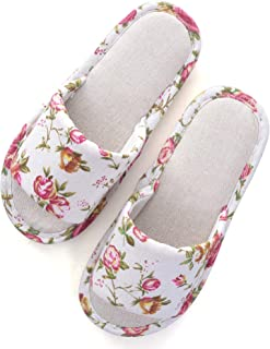 Hee grand Womens/Mens Slip on Cotton Printing House Slipper,Indoors Open Toe Slippers Causal Shoes,Rose