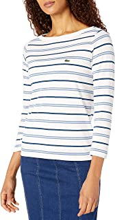 Lacoste Womens Long Sleeve Boat Neck Cotton Modal Clean Striped T-Shirt