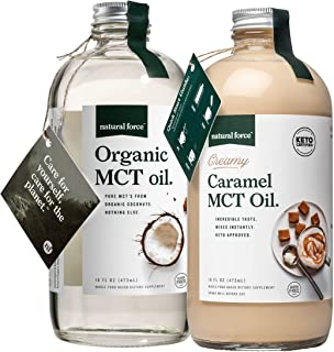 Natural Force Creamy Caramel MCT Oil + Organic Full Spectrum MCT Oil – Gluten-Free, Non GMO, 100% Pure Coconut MCTs from O...