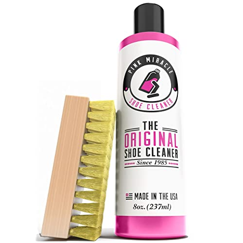Pink Miracle Shoe Cleaner Kit 8 Oz. Bottle Fabric Cleaner For Leather, Whites,