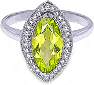 14k Solid Gold Halo Ring 4887-2.15 Carat (CTW) Natural Diamonds and Marquise Peridot