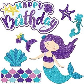 Frienda Car Birthday Mermaid Magnets Stickers Sets 7 Pieces Car Magnetic Happy Birthday Stickers Decorations for Cars Refr...