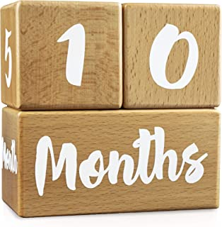 Growing Gifts Baby Milestone Blocks for Boys and Girls (3 Pc. Set) | 1-52 Weekly, Monthly, First Year, and Yearly Photo Props | Real, Natural Wood Keepsakes | Shower, Newborn, Infant | UPDATED PRODUCT