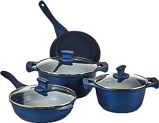 Winsor WR6005 Non-Stick 9 Pieces Cookware Set, Dark Blue, Aluminum