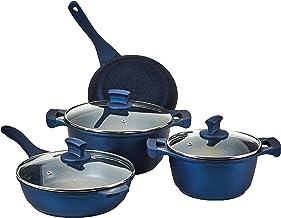 ادوات مطبخ من الالمنيوم المصبوب من كاست طقم اواني جرانيت ان /اس 9 قطع، باللون الازرق الداكن WR6005