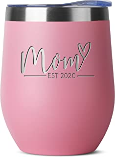 New Mom Gifts Ideas | First Time Mom Est. 2020 | Mom to be 12 oz Pink Stainless Steel Tumbler w/Lid | Mommy w/New Baby Gift | Cute Expecting Mother to be Baby Shower Presents for Her Pregnancy Moms