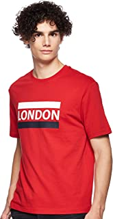 Giordano Men's 01029206 Crew Neck Short Sleeve Men's Union Jack Print Tee's, Red (Haute Red[red] 21), Large