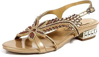 ca66c178ab7036 Honeystore Women s Flower Rhinestones Leaf Design Low Heel Party Sandals  Shoes